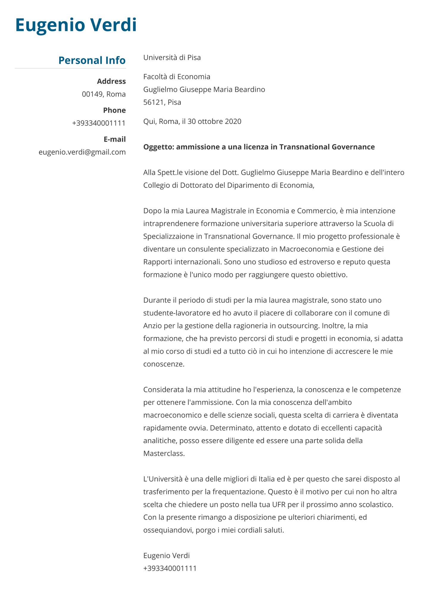 Lettera di presentazione per ammissione all'università