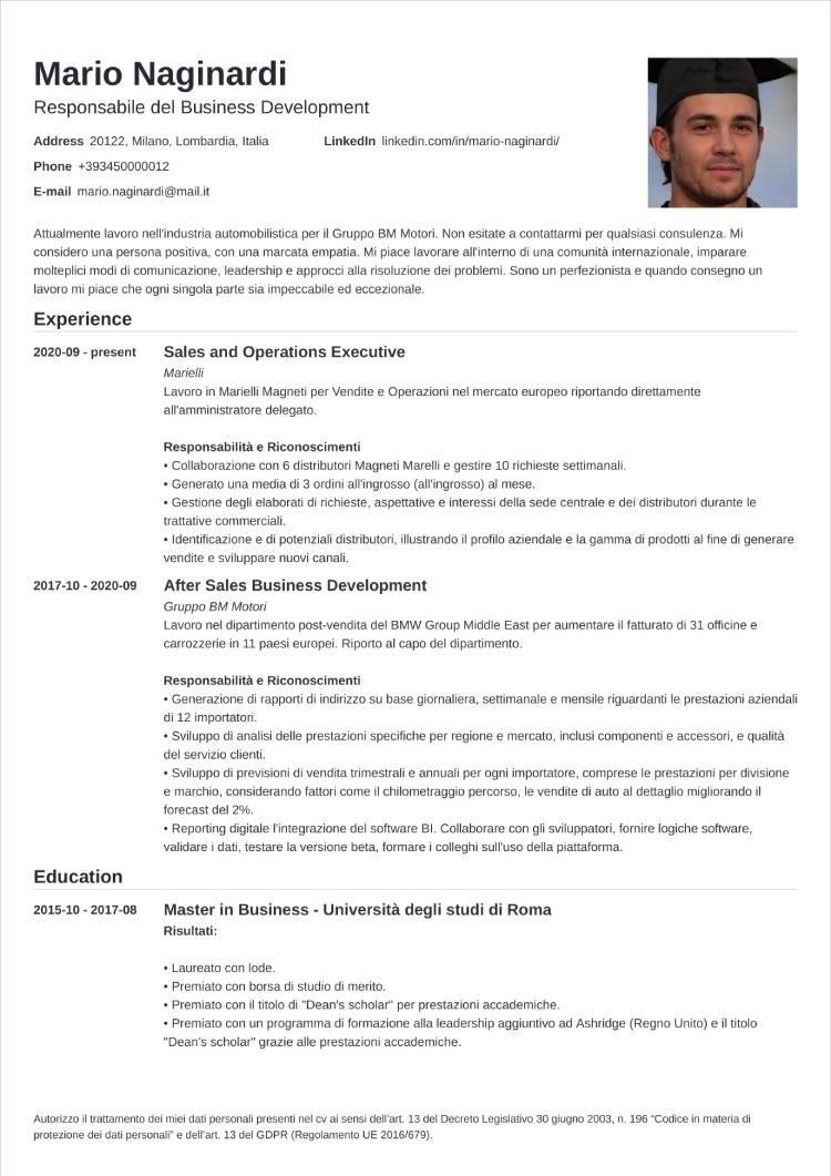 curriculum grafico nanica