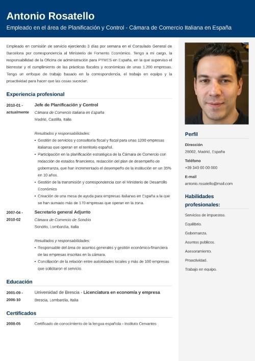 Modello di curriculum da spagnolo