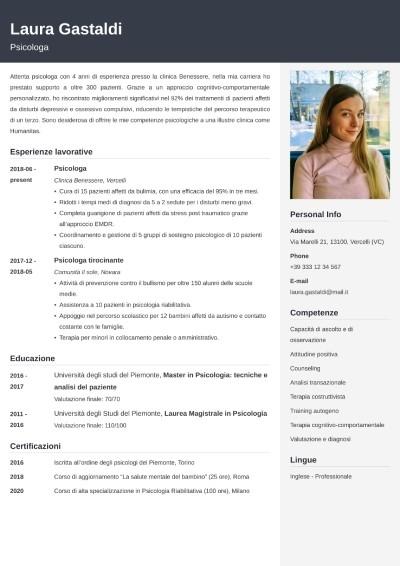 Modello di curriculum da psicologo