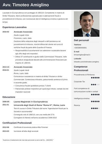 Modello di curriculum da avvocato