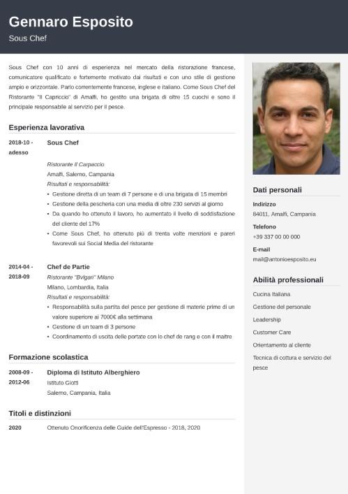 modello di curriculum da chef
