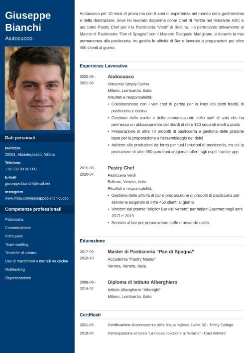 modello di curriculum da aiuto cuoco