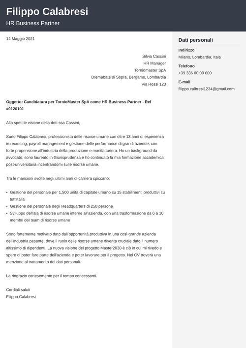 lettera di presentazione risorse umane