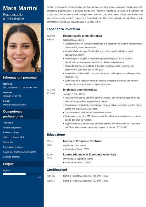 modello di curriculum da responsabile amministrativo