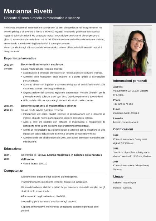 Modello di curriculum da insegnante