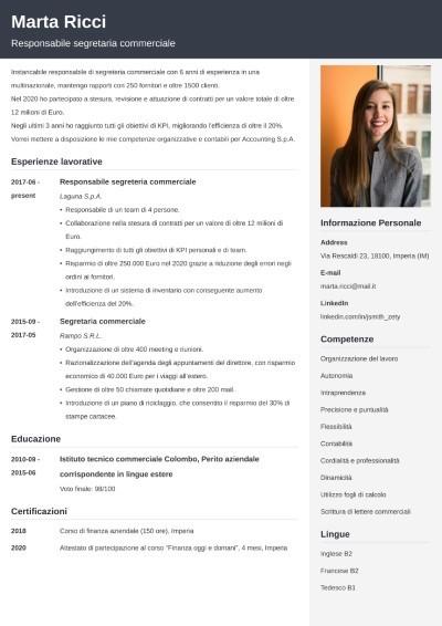 Modello di curriculum da segretaria