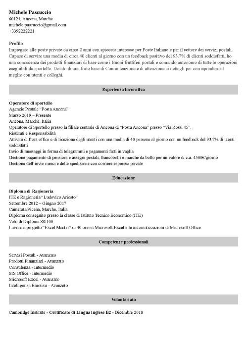 Modello di curriculum da poste