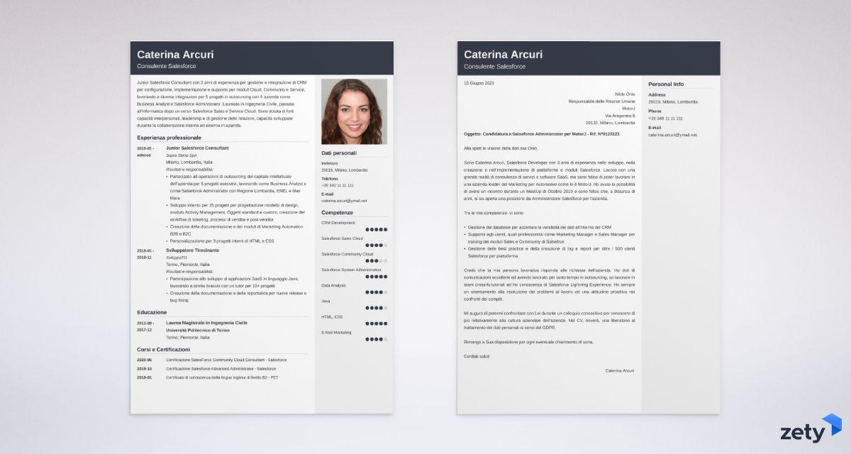 CV e Lettera di presentazione da compilare e scaricare