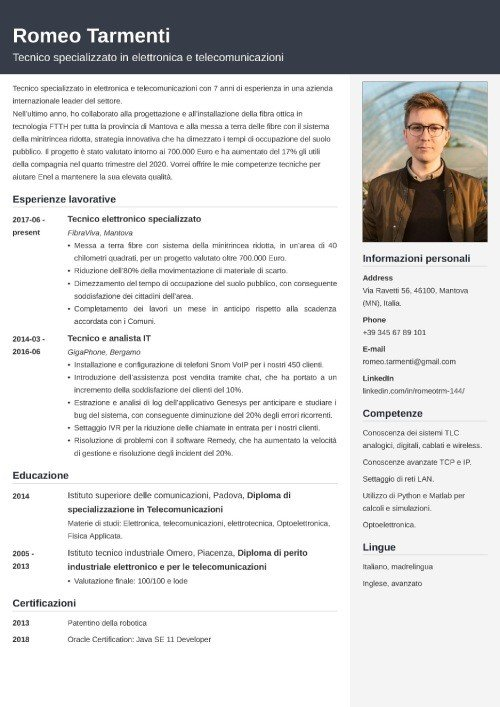 Modello di curriculum da Enel